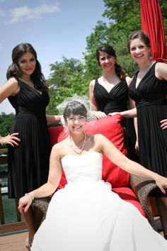 Black dresses for the Bridesmaids against the red details in the chair created a compelling photo. Nice pop of color! Bridesmaids, Bridesmaid Dresses, Wedding Dresses, Bridal Parties, Color Pop, Chair, Nice, Party, Red