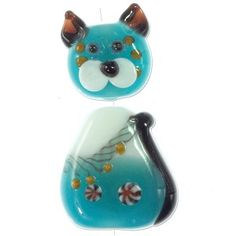 GB1235 - Two Piece Cat Lampwork Bead 31x16mm Aqua/White (2 Piece Set) - Only at... JewelrySupply.com