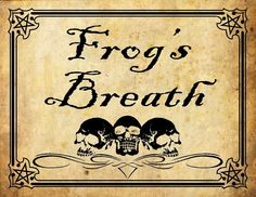 frogs breath potion label