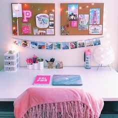 Still about pink. Study Room Decor, Cute Room Decor, Teen Room Decor, Room Ideas Bedroom, Bedroom Decor, Preppy Bedroom, Bedroom Inspo, Hot Pink Bedrooms, Pink Dorm Rooms