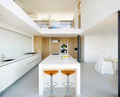 modern white kitchen light grey square tile back splash light wood, Hause ideen