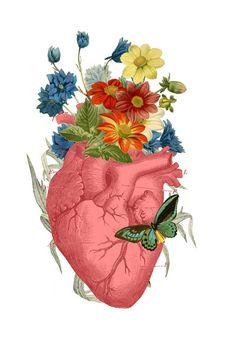 Home decor Pink Flower Heart Human Anatomy print A3 by PRRINT