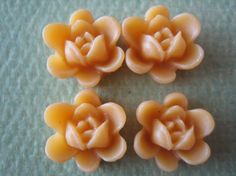 4PCS  Spring Collection  Mini Lotus Flower Cabochons  by ZARDENIA, $1.20