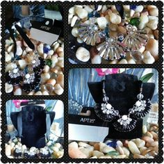 """Black Clear & White Resin Statement Necklace NWT Apt 9 Black Clear & Resin Statement Necklace with Black Ribbon Sides & Silver Tone Backing & Closure.  From end to end necklace measures 19 1/2"""". Apt. 9 Jewelry Necklaces"""
