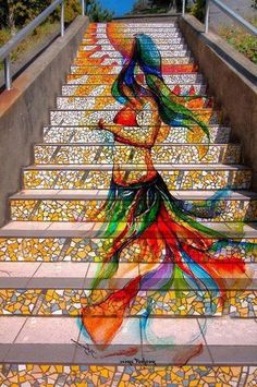 graffiti mural Knitting Graffiti by Masquerade: Stockholm, Sweden. mural on stairs 3d Street Art, Street Art Graffiti, Graffiti Artwork, Graffiti Artists, Graffiti Lettering, Street Artists, Mosaic Stairs, Tile Stairs, Sidewalk Art