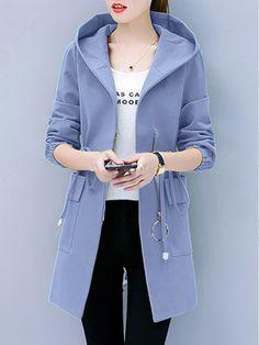 Hooded Flap Pocket Zips Plain Long Sleeve Coats - Look Fashion Coats For Women, Jackets For Women, Clothes For Women, Cheap Fashion, Look Fashion, Fashion Coat, 2000s Fashion, Fashion Black, Trendy Fashion