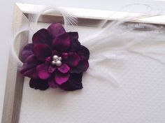 Eggplant Delphinium Flower Clip SWAROVSKI Pearl by PlumPolkaDot, $22.00