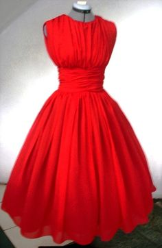 Elegant Red chiffon 50s Dress Customize por elegance50s en Etsy