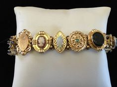 10Kt Yellow Gold 30.4 grams Slider Bracelet with Ruby, Diamond, Opal, Emerald, Sapphire, Pearl, Amethyst, Garnet, Blue Topaz by SweetBettysBling on Etsy