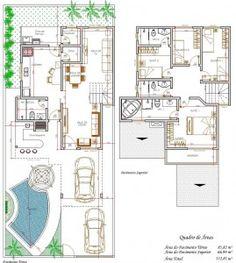 Plantas de Sobrados com 4 Quartos Grátis Home Design Floor Plans, Plan Design, House Floor Plans, Contemporary House Plans, Modern House Plans, Autocad, Cute Small Houses, Craftsman Floor Plans, Shipping Container Homes