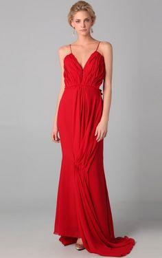 Red Spaghetti Straps Sheath FLoor-length Evening Dresses