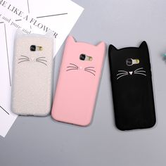 Animal Phone Case for Samsung Galaxy A5 A3 2017 Cute 3D Mustache Cat Silicone Coque Cover for Galaxy A5 (2016) Pink White Black //Price: $9.95 & FREE Shipping //     #catstuff