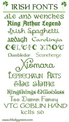 Irish Fonts || kludgymom  ~~ {15 Free fonts w/ easy download links}