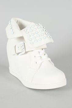 Wild Diva Lounge Sparkle-04 Leatherette Studded Spike Wedge Sneaker