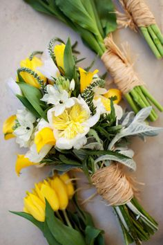adore this! yellow spring bouquet, wrapped in twine.  #wedding bouquet