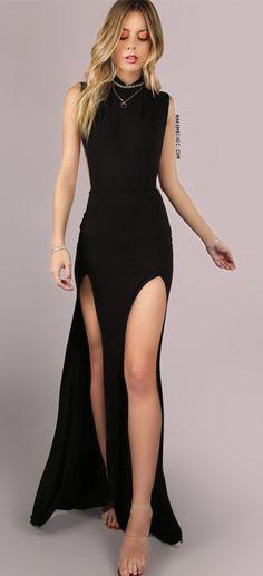 Mesh Back Double Slit Maxi Dress BLACK