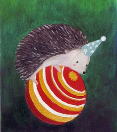 Art Print  Hedgehog Circus Pet by monjojo on Etsy, $18.00