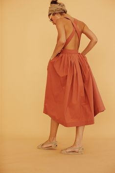 Coral summer dress for minimalist style.
