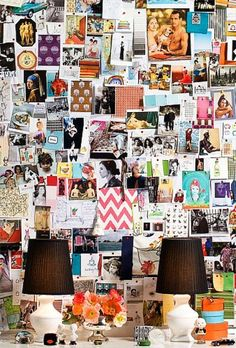 Love those tiny lamps and huge inspiration board / Design Diane Bergeron / #office