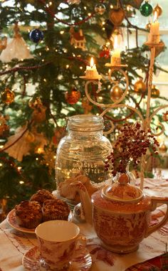 Holiday Tea (christmas table presents) Christmas Mood, Noel Christmas, Victorian Christmas, Little Christmas, All Things Christmas, Vintage Christmas, English Christmas, Christmas Morning, Country Christmas