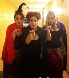 Sanderson SIsters from Hocus Pocus. Great halloween costume, Joyce... Lets find a blone girl to do this with us!!!! So fun. We can even learn their song they sing in the movie. Yay.