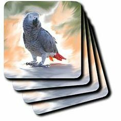 3drose African Grey Parrot Coaster, Soft, Set of 4 by 3dRose. $15.99. Comes in a set of 4-same image on all coasters. Made of recycled rubber. Absorbs moisture. Washable-to prevent image from fading clean with mild detergent using cool water. Dimensions: 3-1/2-inch h by 3-1/2-inch w by 1/4-inch d. African Grey Parrot Coaster is new commercial quality product that will complement your home decor. Available in 3.5-inch by 3.5-inch soft rubber-backed polyester and 4.25 by 4.25 ce...
