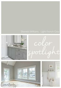 Sherwin Williams Light French Gray: Color Spotlight It's been awhile since I've done a Color Spotlight and today I wanted to highlight one of the most beautiful and versatile mid-toned warm grays out there; Farmhouse Paint Colors, Paint Colors For Home, House Colors, Kitchen Paint Colors, Gray Kitchen Walls, Best Bedroom Paint Colors, Kitchen Cabinets, Wall Paint Colors, Paint For Kitchen