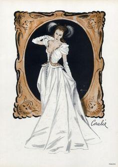 Coralie 1945 Evening Gown, René Gruau, Fashion Illustration