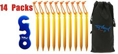 SPARIK ENJOY Aluminum Alloy Tricone Shaped Tent Stakes Pegs Eachpack of 14 Come with 14 pcs One Hole Aluminum Guyline Cord Adjuster and Pouch Cords Gold Blue One Hole Adjuster ** Click image for more details. (This is an affiliate link) Tent Stakes, Tent Accessories, Tent Camping, Aluminium Alloy, Cords, Pouch, Packing, Shapes, Link