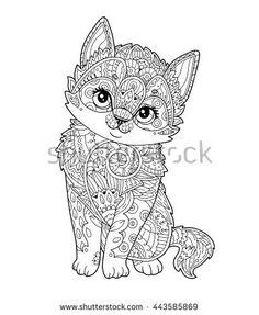 Vector Sitting Kitten In Zentangle Style Hand Drawn