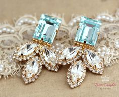 Aquamarine Statement Earrings,Bridal Swarovski Earrings,Chandelier Crystal Earrings,Statement Crystal Earrings,Long Crystal Earrings