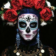 Dia de los Muertos Halloween Makeup Sugar Skull, Sugar Skull Costume, Sugar Skull Makeup, Halloween Skull, Halloween Costumes, Vintage Halloween, Vintage Witch, Skeleton Makeup, Halloween Skeletons