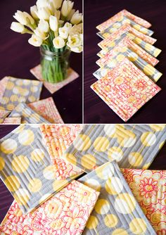 love the colors in these fabric coasters