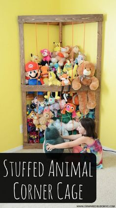 Stuffed Animal Corner Cage The Effective Pictures We Offer You About farmhouse Toy Storage A quality Stuffed Animal Holder, Stuffed Animal Storage, Diy Stuffed Animals, Stuffed Animal Zoo, Stuffed Animal Organization, Diy Toy Storage, Corner Storage, Kids Storage, Storage Ideas For Kids