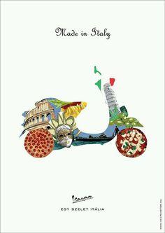 Vespa ~ Made in Italy Lambretta, Piaggio Vespa, Vespa Vintage, Vintage Italy, Vespa Ape, Vespa Scooters, Triumph Motorcycles, Vespa Illustration, Motocross