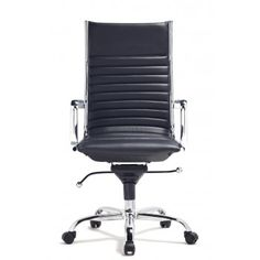 """The Hudson High Back Office Chair:   It has a contemporary supportive, high-back design and a gleaming chromed steel frame.  Reg. $290.00 Now: $169.00  Information MaterialsLeatherette, frame in Chromed steel, Armrest in Chromed aluminum and Nylon wheels Length23"""" Width20"""" Height43""""- 45"""""""
