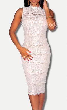 $30.99 Lace Mock Neck Midi Dress - Stella La Moda