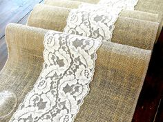 Burlap table runner wedding table runner with ivory lace rustic table decor , handmade in the USA