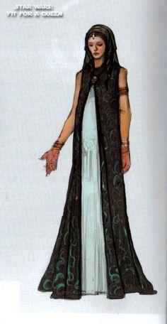 Padme (Ep3) Concept Art for Aqua Georgette Gown