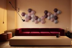 BeoSound Shape, the new offering from Bang & Olufsen, hides speakers in plain sight. BeoSound Shape is a wall-mounted, modular speaker system based on hexagonal tiles. These can be placed creatively on the wall in every Wireless Speaker System, Audio System, Milan Design Week 2017, Wall Of Sound, In Wall Speakers, Audio Speakers, Journal Du Design, Modular Walls, Bang And Olufsen
