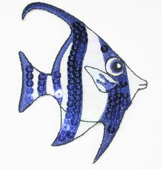 PATCHWORK PANDA LLC - Iron On Patch Applique - Sequin Holographic Fish  - Blue Bannerfish, $1.25 (http://www.patchworkpandatrims.com/iron-on-patch-applique-sequin-holographic-fish-blue-bannerfish/)