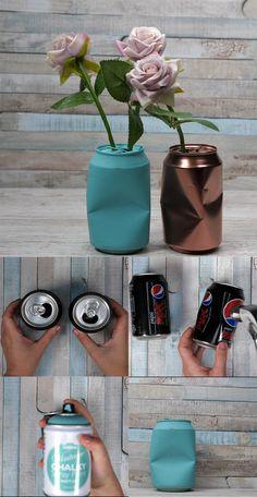 Slik kan du lage fine vaser av gamle brusbokser  Boksene du ikke får pantet kan du bruke til mye kreativt!   Har du kjøpt brusbokser i et annet land du ikke får pant for her til lands? Eller kanskje du bare har lyst til å lage noe helt annerledes kreativt? Du kan faktisk lage mye fint av disse boksene. Vase, Bottle, Creative, Flask, Flower Vases, Jars, Vases