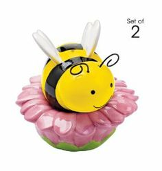 """Busy Little Bee & Flower Salt and Pepper Shaker Stacking AVON EXCLUSIVE by AVON. $12.99. Avon Exclusive. Busy Little Bee Stackable Salt & Pepper Shaker. Avon exclusive. This adorable set of salt and pepper shakers is the bee's knees. Honeybee, 3"""" L x 2"""" H; Flower, 3 1/4"""" diam. x 1 1/2"""" H. Ceramic."""