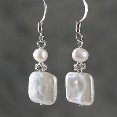 Plaza de pendientes de perlas regalos de las damas de honor