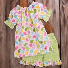 Lolly Wolly Doodle Lime Bird Shorts Set 6/8