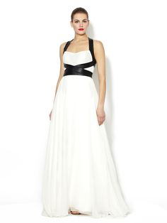 Silk Chiffon Leather Strapped Gown by Monique Lhuillier at Gilt