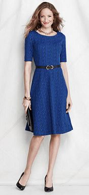 Own it (this exact dress plus same in different colors and similar prints) - LOVE it!   Lands End Pattern Ponte Boatneck Dress