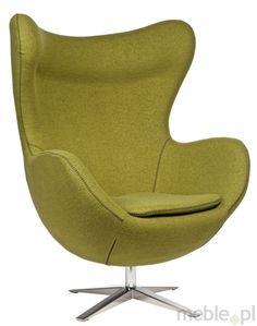 Fotel Jajo wykonany w tkaninie olikowej z przeszyciem, Dkwadrat - Meble