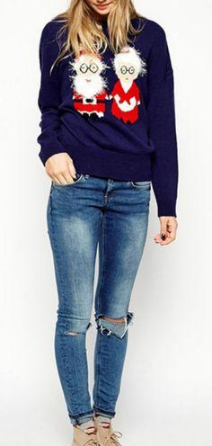 Women's Christmas Santa Graphic Knit Sweater