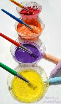 Make your own chalk paint using just two ingredients!  This paint has the texture of chalk but the consistency of a liquid paint- can be used in arts, crafts, and even on the sidewalk! 100% washable, too.